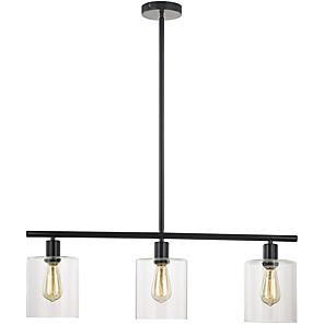 cheap Pendant Lights-3-Light 80 cm Cluster Design Line Design Island Design Pendant Light Metal Glass Electroplated Painted Finishes Black Vintage Island 110-120V 220-240V