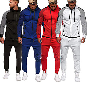 cheap Running & Jogging Clothing-Men's 2-Piece Full Zip Tracksuit Sweatsuit Long Sleeve Cotton Thermal / Warm Breathable Soft Fitness Gym Workout Running Active Training Jogging Sportswear Skinny Stripes Plus Size Outfit Set