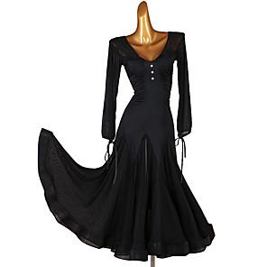 cheap Ballroom Dancewear-Ballroom Dance Dress Ruching Split Joint Women's Training Long Sleeve Chinlon Chiffon Tulle