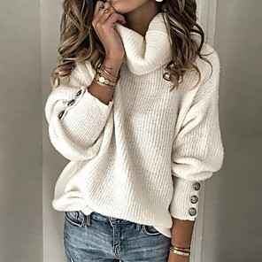 cheap Facial Care Device-Women's Solid Color Pullover Long Sleeve Sweater Cardigans Turtleneck Fall Winter White Black Blue