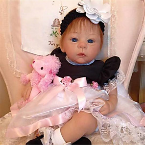 cheap Reborn Doll-21 inch Reborn Doll Baby & Toddler Toy Baby Girl Reborn Baby Doll Harlow Newborn lifelike Hand Made Simulation Floppy Head Cloth Silicone Vinyl with Clothes and Accessories for Girls' Birthday and