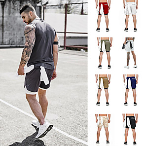 cheap Wetsuits, Diving Suits & Rash Guard Shirts-Men's Running Shorts Athletic Bottoms 2 in 1 Liner Towel Loop Fitness Gym Workout Running Jogging Trail Training Breathable Quick Dry Soft Sport Dark Grey White Black Khaki Army Green Gray Camouflage