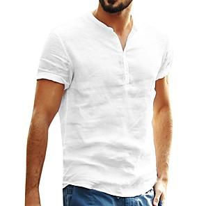 cheap Hiking Trousers & Shorts-fanshonn men& #39;s solid color cotton linen short sleeve henley shirt summer casual baggy t-shirt tops white
