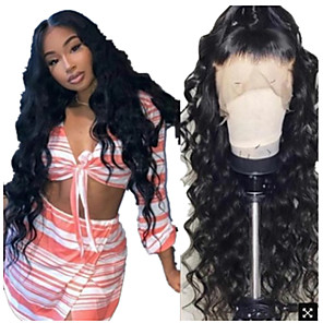 cheap Synthetic Trendy Wigs-Synthetic Wig Curly Loose Curl Middle Part Wig Long Natural Black Synthetic Hair 24 inch Women's Fashionable Design Fluffy Black