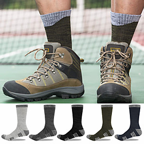 cheap Hiking Trousers & Shorts-Men's Hiking Socks Crew Socks 5 Pairs Breathable Warm Moisture Wicking Anti Blister Socks Patchwork Letter & Number Cotton Autumn / Fall Spring Summer for Camping / Hiking Hunting Fishing Dark Grey