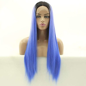 cheap Synthetic Lace Wigs-Synthetic Lace Front Wig Straight Matte Rihanna Middle Part Free Part Lace Front Wig Long Black / Smoke Blue Synthetic Hair 26 inch Women's Cosplay Heat Resistant Party Blue