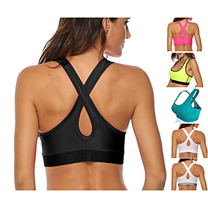 cheap Exercise, Fitness & Yoga Clothing-Women's Sports Bra Medium Support Removable Pad Wireless Fashion White Black Light Green Fuchsia Green Fitness Gym Workout Running Bra Top Sport Activewear Breathable High Impact Moisture Wicking