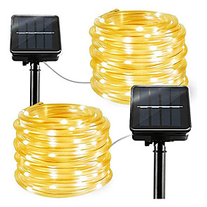 cheap LED String Lights-2pcs 1pcs Rope Tube LED Solar Lamp 12m 100 leds String Lights Outdoor Fairy Holiday Christmas Party Solar Garden Light Waterproof luz solar