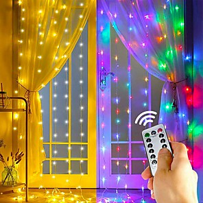 cheap LED String Lights-LED Curtain String Lights Flash Fairy Garland 3x1 3x2 3x3M USB Remote Control for New Year Christmas Outdoor Wedding Home Window Docoration