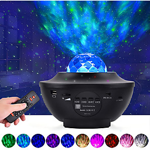 cheap Projectors-LED Starry Galaxy Projector Night Light Ocean Wave Projection with Bluetooth Music Speaker 8W LED 10 Colors 21 Lighting Modes Brightness Levels Adjustable with Remote Control-LITBest