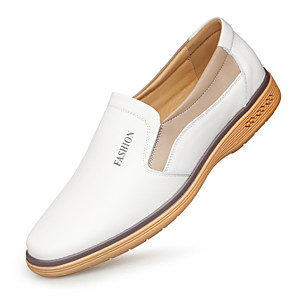 cheap Men's Slip-ons & Loafers-Men's Summer / Fall Business / Casual Daily Loafers & Slip-Ons PU Wear Proof White / Black Color Block