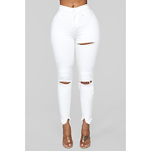 cheap Christmas Decorations-Women's Basic Daily Jeans Pants Solid Colored Hole Breathable White S M L