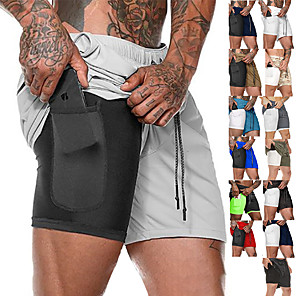 cheap Wetsuits, Diving Suits & Rash Guard Shirts-Men's Running Shorts Sports Outdoor Bottoms 2 in 1 with Phone Pocket Liner Fitness Gym Workout Running Jogging Trail Breathable Quick Dry Moisture Wicking Sport Dark Grey Cobalt Blue fluorescent
