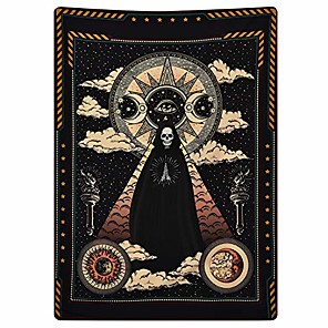 cheap Wall Tapestries-wizard skull tapestry tarot solar iris tapestry sun and moon tapestries black chakra tapestry stars and cloud tapestry for room & #40;51.2 x 59.1 inches& #41;