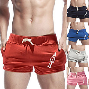 cheap Running & Jogging Clothing-Men's Running Shorts Sports & Outdoor Bottoms Pocket Drawstring Running Jogging Training Breathable Moisture Wicking Soft Sport Red Blushing Pink Blue Navy Blue Gray Solid Colored / Micro-elastic