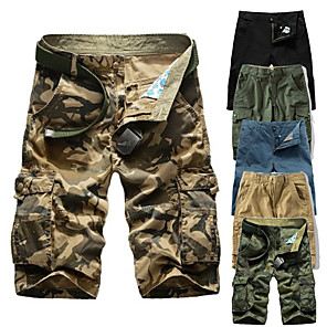 "cheap Hiking Trousers & Shorts-Men's Hiking Shorts Hiking Cargo Shorts Solid Color Summer Outdoor 10"" Standard Fit Breathable Quick Dry Sweat-wicking Comfortable Shorts Bottoms Jungle camouflage Black Blue Army Green Camouflage"