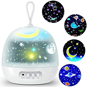 cheap Projectors-Night Light Projector Delicacy 4 Set Films 360 Rotating 8 Lighting Modes LED Night Lights Lamp for Kids Baby Bedroom Decoration