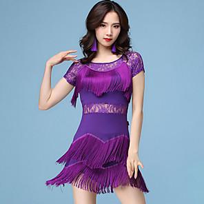 cheap Latin Dancewear-Latin Dance Dress Lace Tassel Tiered Women's Training Performance Short Sleeve Natural Lace Milk Fiber