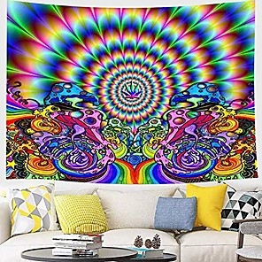 cheap Wall Tapestries-Psychedelic Abstract Wall Tapestry Art Decor Blanket Curtain Picnic Tablecloth Hanging Home Bedroom Living Room Dorm Decoration Polyester Arabesque Hippie Sunshine Monster Skull Trippy Mountain Landsc