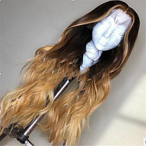 cheap Synthetic Trendy Wigs-Synthetic Wig Curly Deep Wave Middle Part Lace Front Wig Long Light Brown Synthetic Hair 26 inch Women's Ombre Hair Middle Part Light Brown