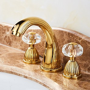 cheap Bathroom Sink Faucets-Bathroom Sink Faucet -Elegant Waterfall Gold Centerset Two Handles Three Holes