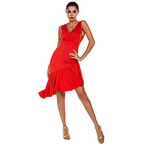 cheap Latin Dancewear-Latin Dance Dress Ruffles Solid Women's Training Performance Sleeveless Natural Polyester