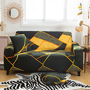 cheap Sofa Cover-Geometric Lines Printed Sofa Cover Stretch Couch Cover Sofa Slipcovers for 1~4 Cushion Couch with One Free Pillow Case