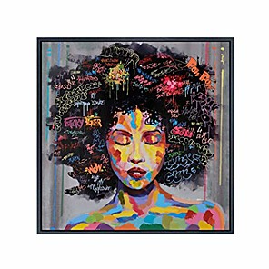 cheap Abstract Paintings-graffiti street wall art abstract modern african women portrait oil painting printed on canvas for living room(50cm x 50cm)