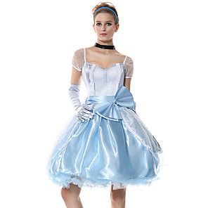 cheap Movie & TV Theme Costumes-Princess Cinderella Dress Flower Girl Dress Women's Movie Cosplay A-Line Slip Cosplay Light Blue Dress Gloves Headwear Halloween Carnival Masquerade Tulle Polyester