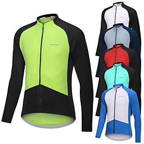 cheap Cycling Jerseys-Nuckily Men's Long Sleeve Cycling Jersey White Yellow Red Solid Color Patchwork Bike Jersey Top Mountain Bike MTB Road Bike Cycling Breathable Quick Dry Sweat-wicking Sports Clothing Apparel