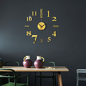 cheap Wall Clocks-3D DIY Wall Clock Frameless Mirror Wall Sticker Home Decor for Living Room Bedroom