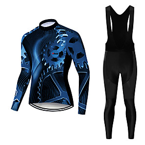 cheap Cycling Jersey & Shorts / Pants Sets-21Grams Men's Long Sleeve Cycling Jersey with Bib Tights Winter Polyester White Black Novelty Bike Jersey Bib Tights Clothing Suit Breathable Quick Dry Moisture Wicking Back Pocket Sports Novelty