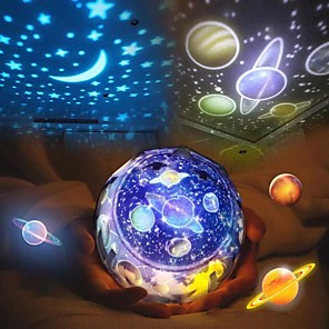 cheap Projectors-LED Starry Sky Night Light Planet Star Moon Planet Projector Lamp Cosmos Universe Night Lights Kids Baby Christmas Gift