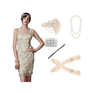 cheap Historical & Vintage Costumes-The Great Gatsby Vintage 1920s Flapper Dress Outfits Masquerade Women's Costume Pink / Apricot Vintage Cosplay Party Prom / Gloves / Headwear / Necklace / Bracelets & Bangles / Cigarette Stick