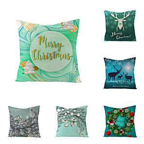 cheap Pillow Covers-1 Set of 6 pcs Christmas Series Decorative Linen Throw Pillow Cover 18 x 18 inches 45 x 45cm For Home Decoration Christmas Decoration