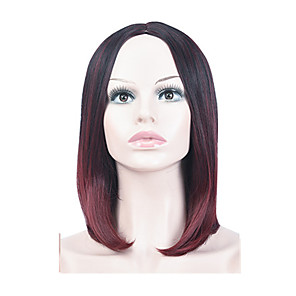 cheap Tattoo Stickers-Synthetic Wig kinky Straight Middle Part Wig Long Silver grey Brown Burgundy Synthetic Hair 16 inch Women's Fashionable Design Ombre Hair Middle Part Burgundy Brown