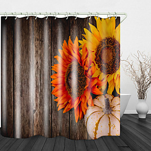 cheap Shower Curtains-Pumpkin Sunflower Print Waterproof Fabric Shower Curtain for Bathroom Home Decor Covered Bathtub Curtains Liner Includes with Hooks