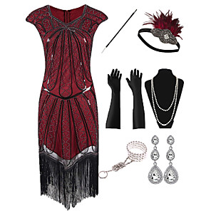 cheap Historical & Vintage Costumes-The Great Gatsby Vintage 1920s Flapper Dress Outfits Masquerade Women's Tassel Fringe Costume Red Vintage Cosplay Party Prom / Gloves / Headwear / Necklace / Bracelets & Bangles / Earrings