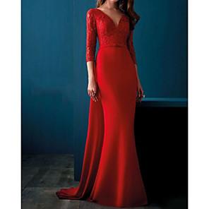 cheap Ballroom Dancewear-Mermaid / Trumpet Elegant Vintage Wedding Guest Formal Evening Dress V Neck 3/4 Length Sleeve Sweep / Brush Train Satin with Appliques 2020