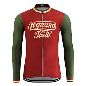 cheap Cycling Jerseys-21Grams Men's Long Sleeve Cycling Jacket Red Novelty Bike Jersey Top Mountain Bike MTB Road Bike Cycling UV Resistant Breathable Quick Dry Sports Clothing Apparel / Stretchy