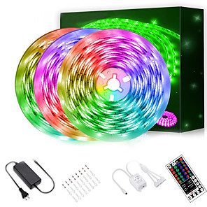 cheap Projectors-LED Strip Lights (3*5m)15m 2835 RGB Light Strips Color Changing Rope Lights Flexible Tape Light Kit with 44 Keys Remote Controller