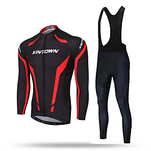 cheap Cycling Jersey & Shorts / Pants Sets-XINTOWN Men's Long Sleeve Cycling Jersey with Bib Tights Red / black Solid Color Bike Pants / Trousers Jersey Bib Tights Breathable 3D Pad Reflective Strips Back Pocket Sweat-wicking Winter Sports