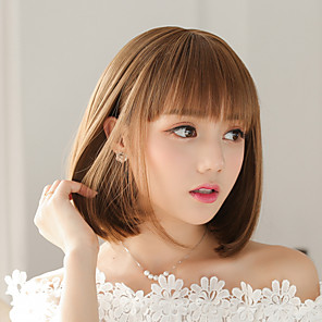 cheap Synthetic Trendy Wigs-Synthetic Wig kinky Straight Bob Neat Bang Wig Short Brown Synthetic Hair Women's Fashionable Design Easy to Carry Adorable Brown