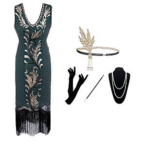 cheap Historical & Vintage Costumes-The Great Gatsby Charleston Dance Costumes 1 Necklace Paillette Women's Party Theme Party Sleeveless Natural Polyester