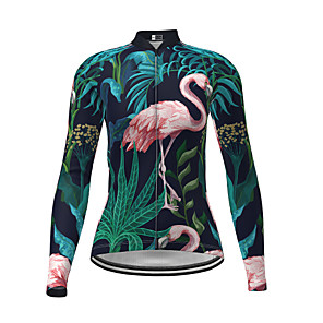 cheap Cycling Jerseys-21Grams Women's Long Sleeve Cycling Jersey Polyester Dark Green Flamingo Novelty Animal Bike Jersey Top Mountain Bike MTB Road Bike Cycling Breathable Quick Dry Reflective Strips Sports Clothing