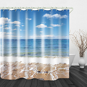 cheap Shower Curtains-Beach sea View Print Waterproof Fabric Shower Curtain for Bathroom Home Decor Covered Bathtub Curtains Liner Includes with Hooks