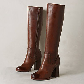 cheap iPhone Cases-Women's Boots Block Heel Round Toe Casual Basic Daily Solid Colored PU Knee High Boots Walking Shoes Brown