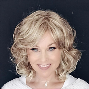 cheap Synthetic Trendy Wigs-Synthetic Wig Curly Loose Curl Asymmetrical Wig Short Brown Synthetic Hair 14 inch Women's Classic Exquisite Fluffy Brown
