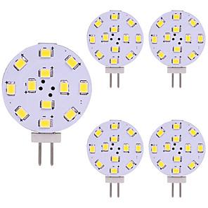 cheap LED Bi-pin Lights-5pcs T10 G4 12 Leds 3528 2W AC12V DC12-24V Corn Led Mini Lampada Led Bulb Beads Dimmable Decorative Warm White Daylight White
