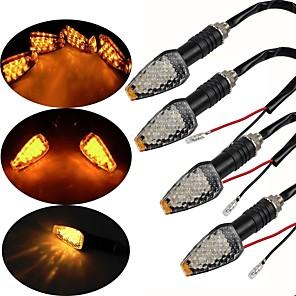 cheap Motorcycle Lighting-4Packs 12 LED Motorcycle Turn Signal Indicator Lights Amber Motorbike Night Lamps Universal for Harley Davidson Yamaha etc